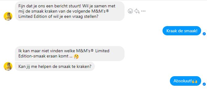 Chatbot M&M's facebook messenger